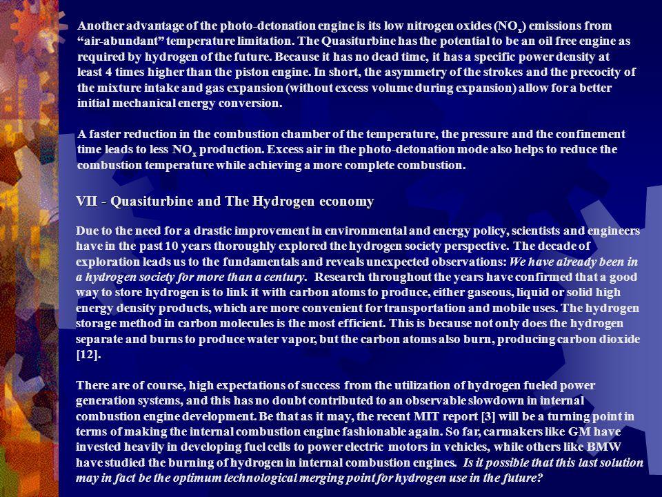 VII - Quasiturbine and The Hydrogen economy