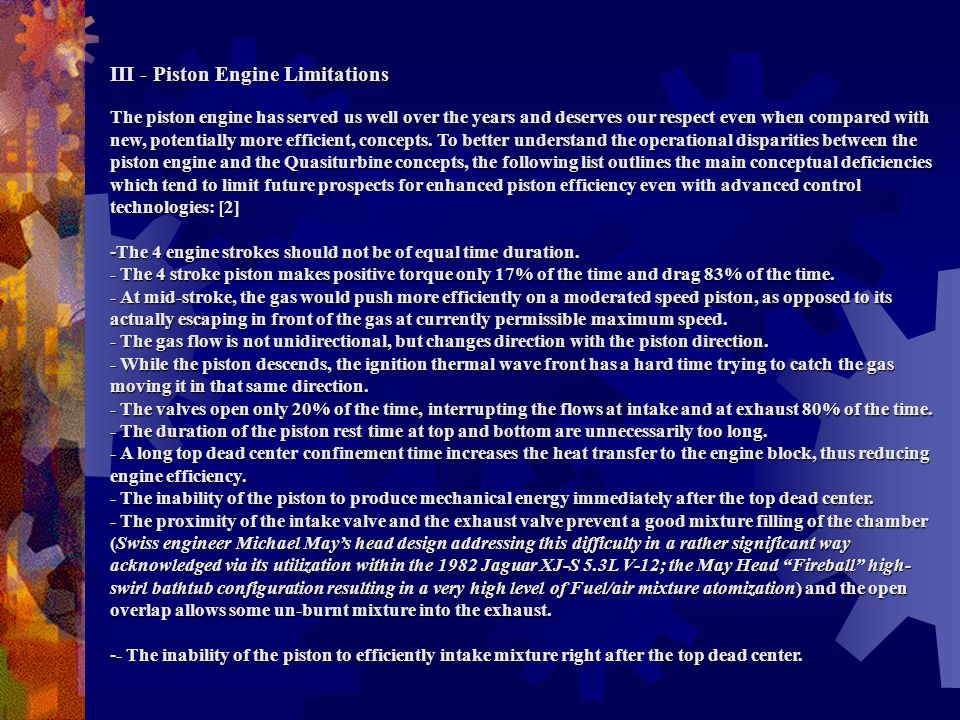 III - Piston Engine Limitations