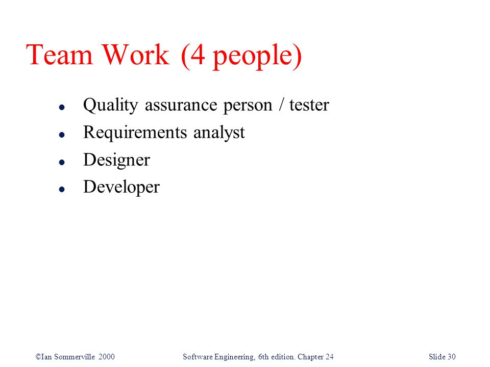 Team Work (4 people) Quality assurance person / tester
