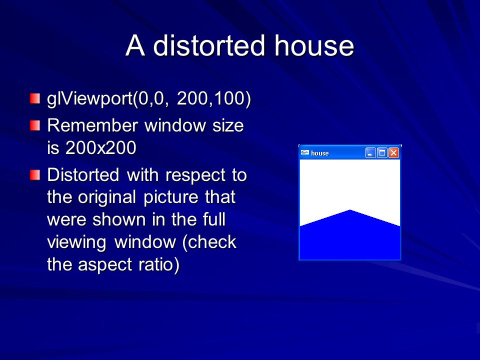 A distorted house glViewport(0,0, 200,100)