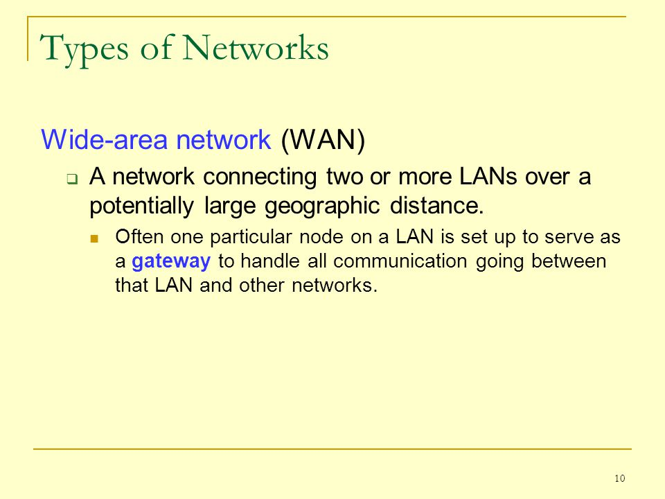 Types of Networks Wide-area network (WAN)