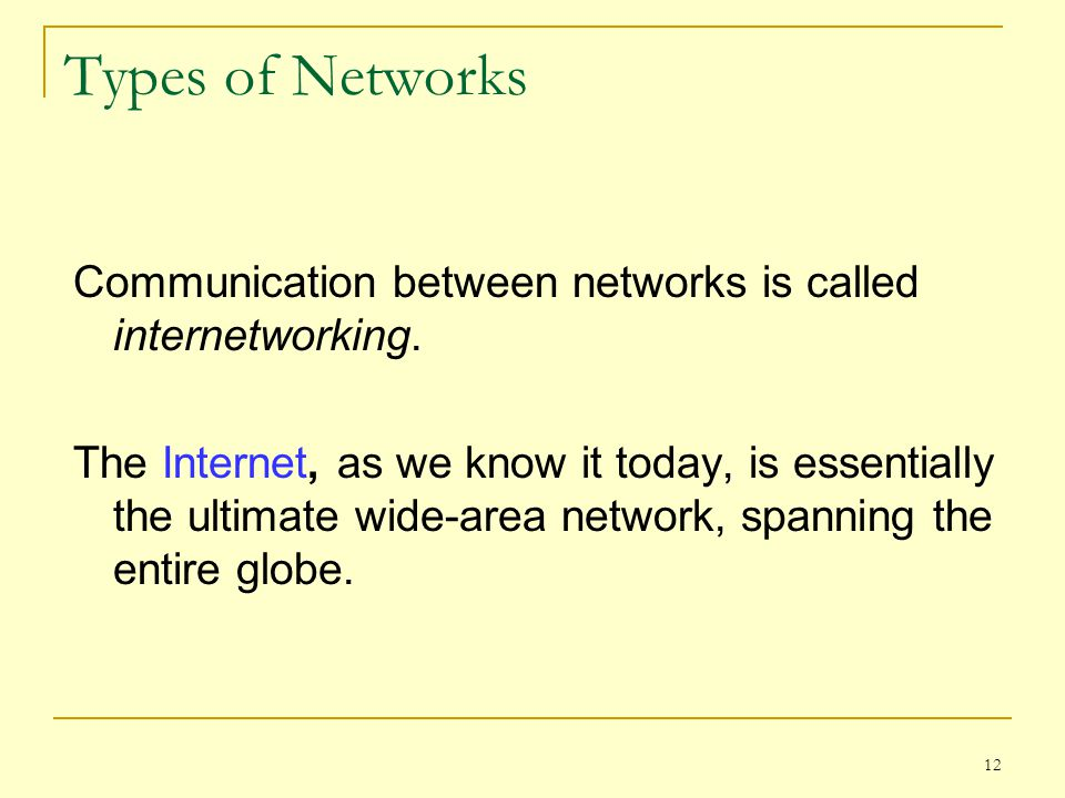 Types of Networks Communication between networks is called internetworking.
