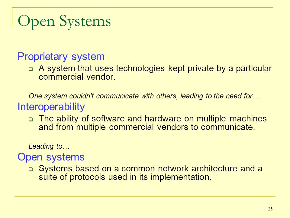 Open Systems Proprietary system Interoperability Open systems