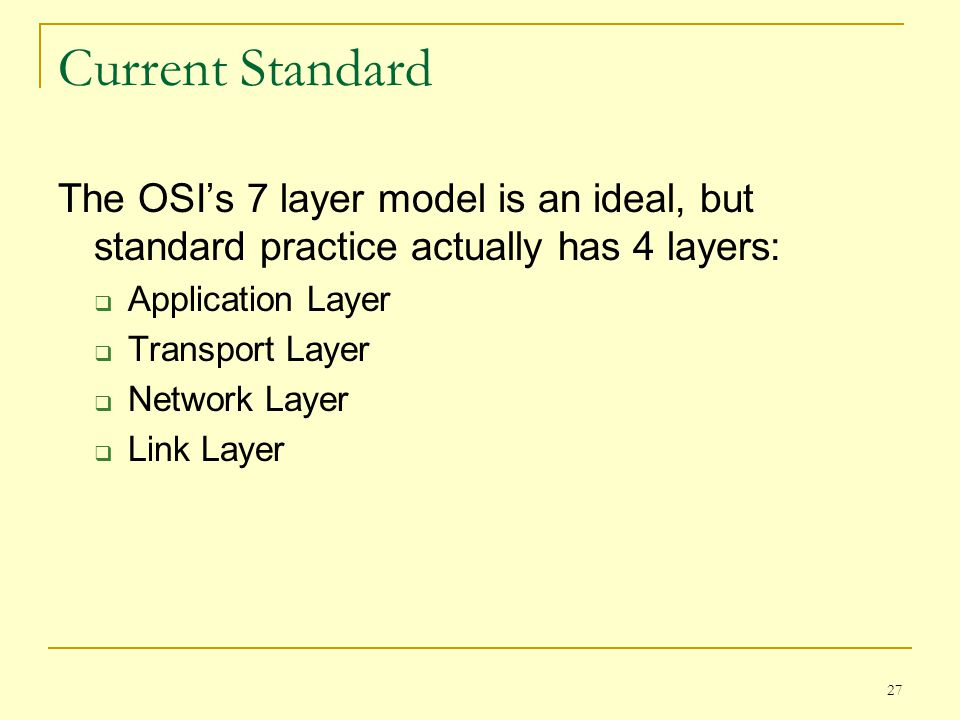 Current Standard The OSI's 7 layer model is an ideal, but standard practice actually has 4 layers: Application Layer.