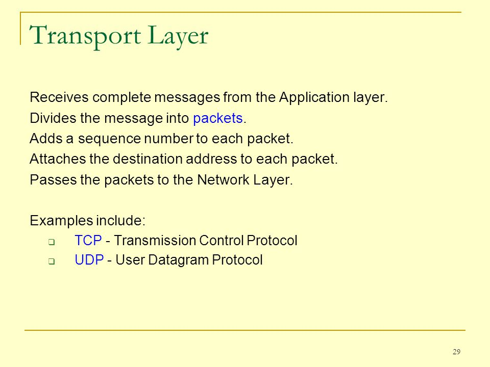 Transport Layer Receives complete messages from the Application layer.