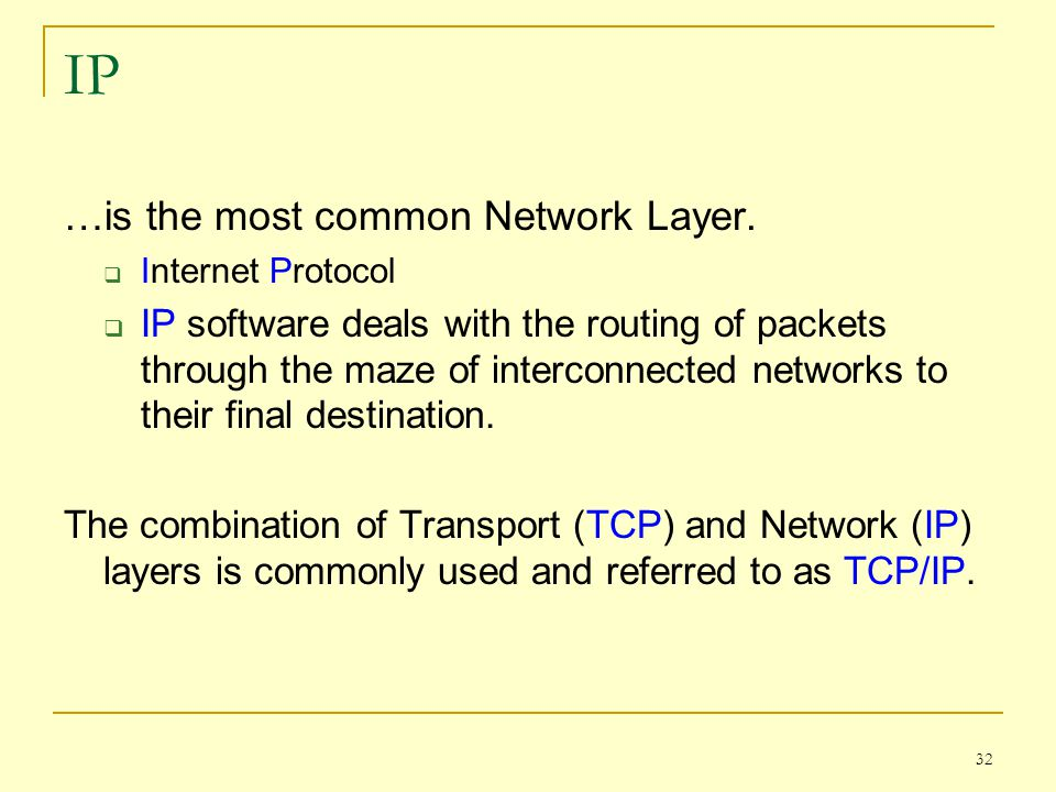 IP …is the most common Network Layer.