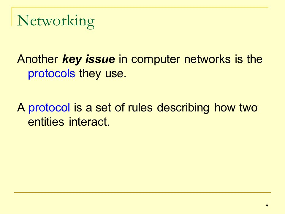 Networking Another key issue in computer networks is the protocols they use.