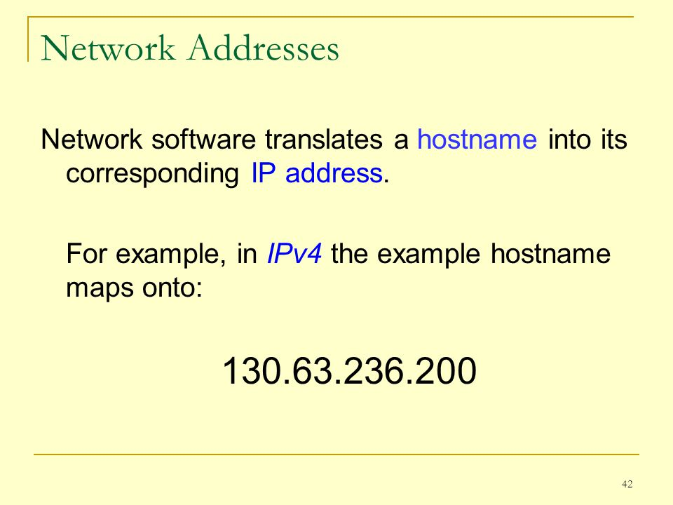 Network Addresses Network software translates a hostname into its corresponding IP address. For example, in IPv4 the example hostname maps onto: