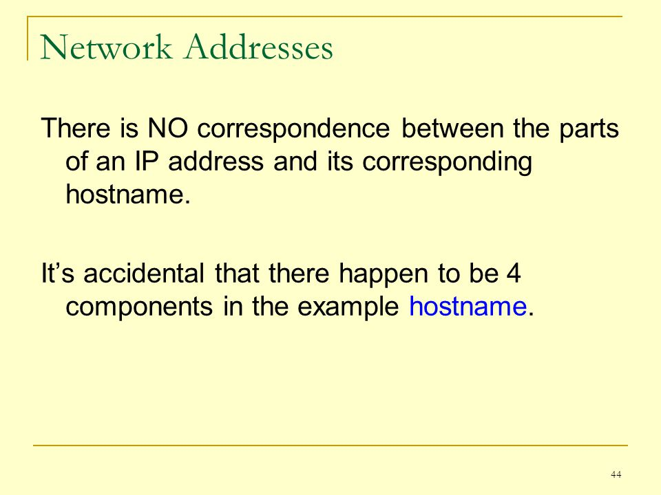 Network Addresses There is NO correspondence between the parts of an IP address and its corresponding hostname.