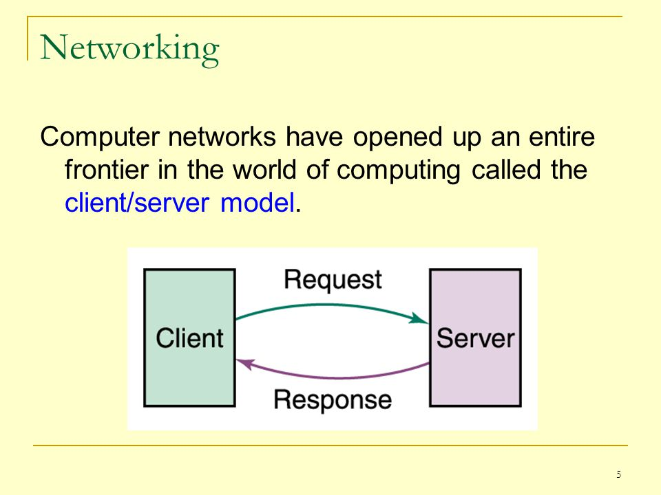 Networking Computer networks have opened up an entire frontier in the world of computing called the client/server model.