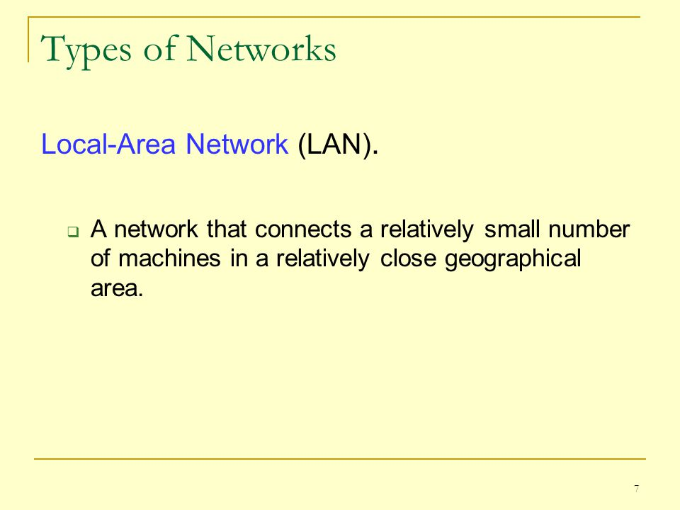 Types of Networks Local-Area Network (LAN).