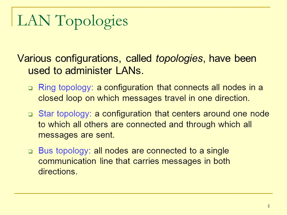LAN Topologies Various configurations, called topologies, have been used to administer LANs.