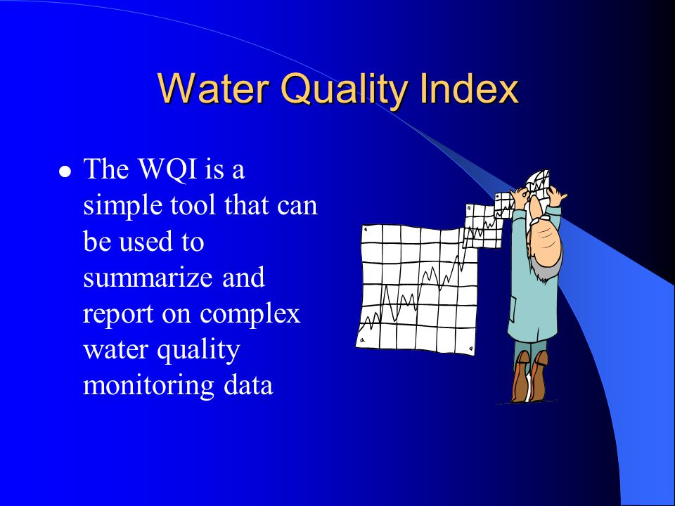 Water Quality Index The WQI is a simple tool that can be used to summarize and report on complex water quality monitoring data.