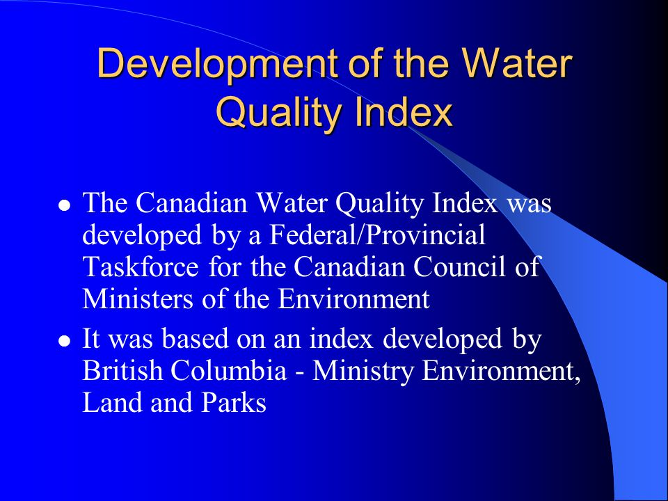 Development of the Water Quality Index