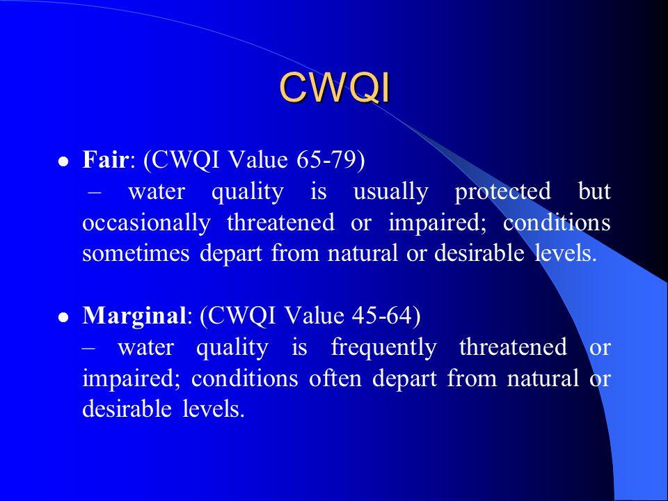 CWQI Fair: (CWQI Value 65-79)