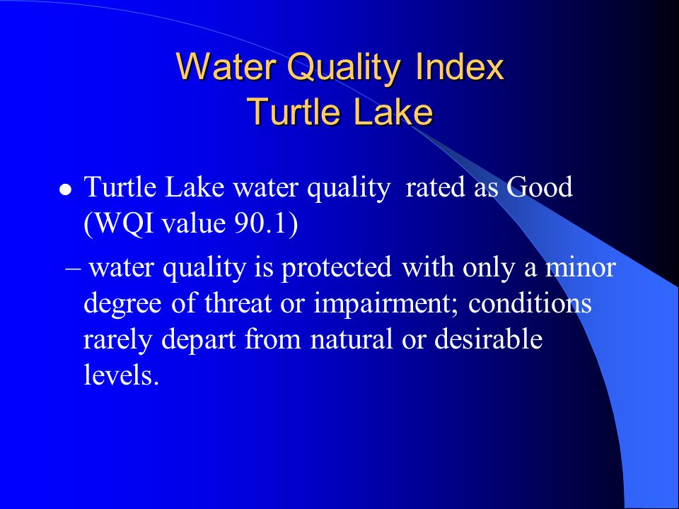 Water Quality Index Turtle Lake