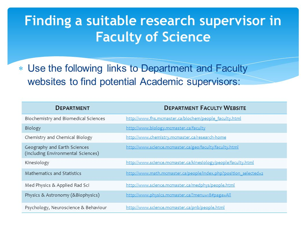Finding a suitable research supervisor in Faculty of Science