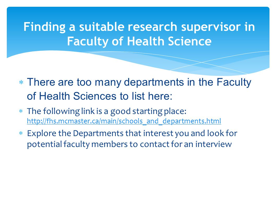 Finding a suitable research supervisor in Faculty of Health Science