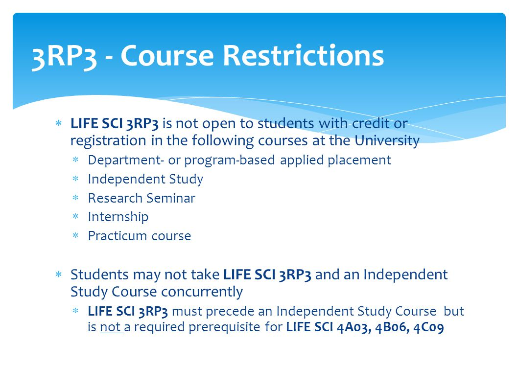 3RP3 - Course Restrictions