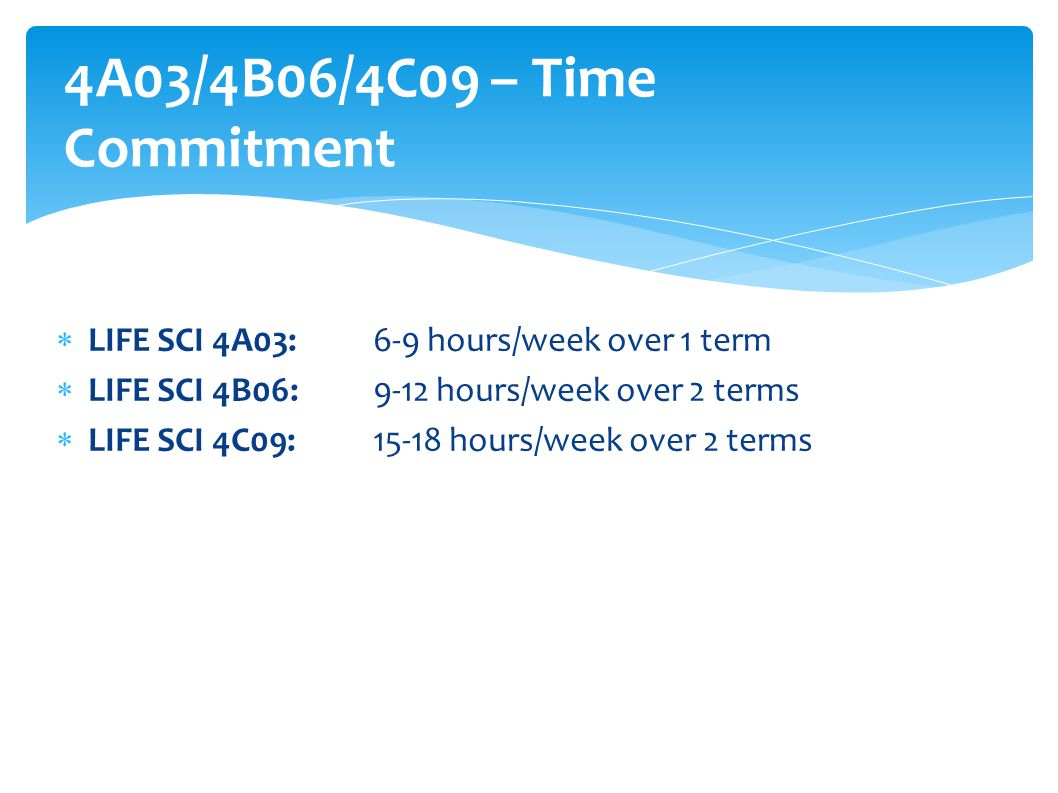 4A03/4B06/4C09 – Time Commitment