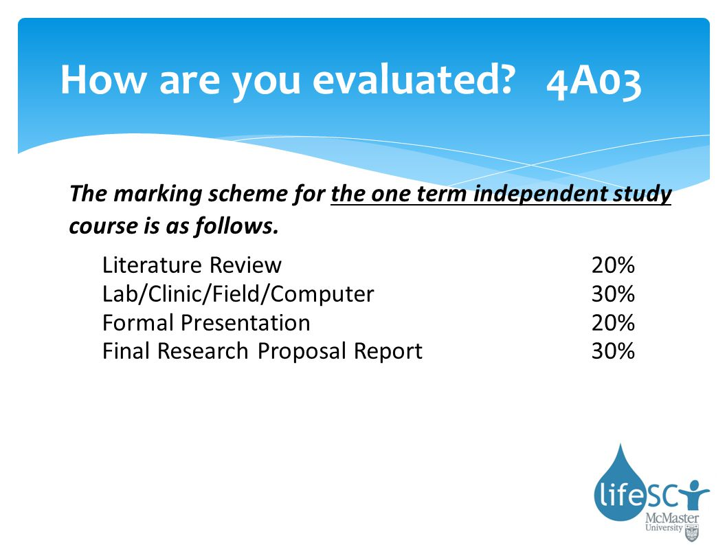 How are you evaluated 4A03 The marking scheme for the one term independent study course is as follows.