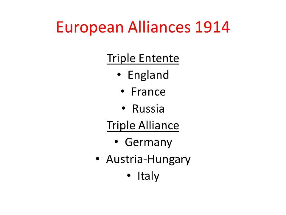 European Alliances 1914 Triple Entente England France Russia