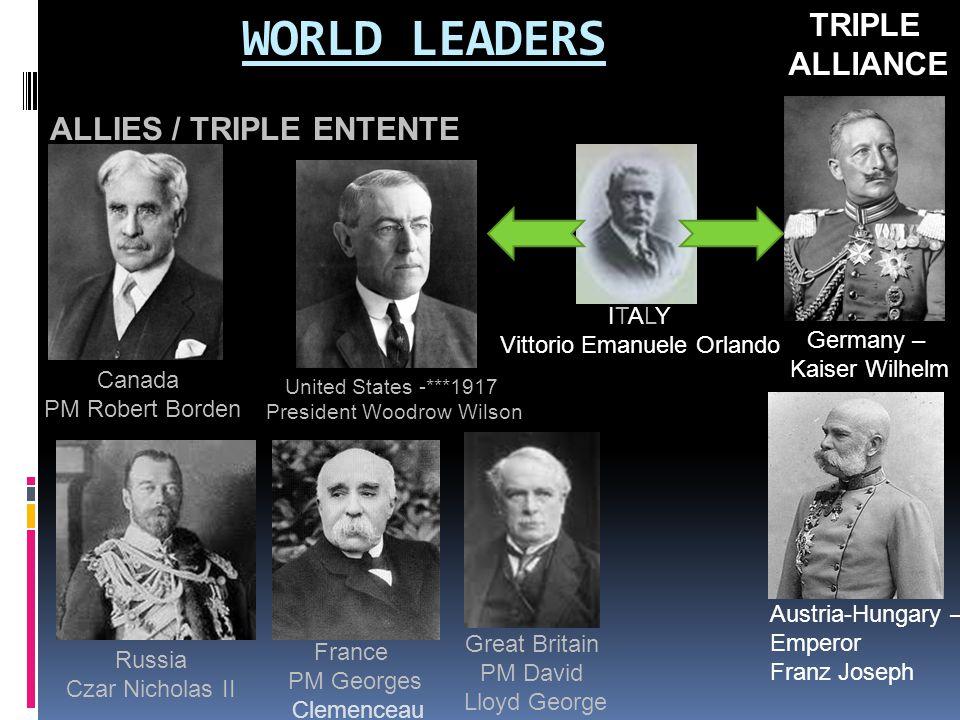 WORLD LEADERS TRIPLE ALLIANCE ALLIES / TRIPLE ENTENTE ITALY