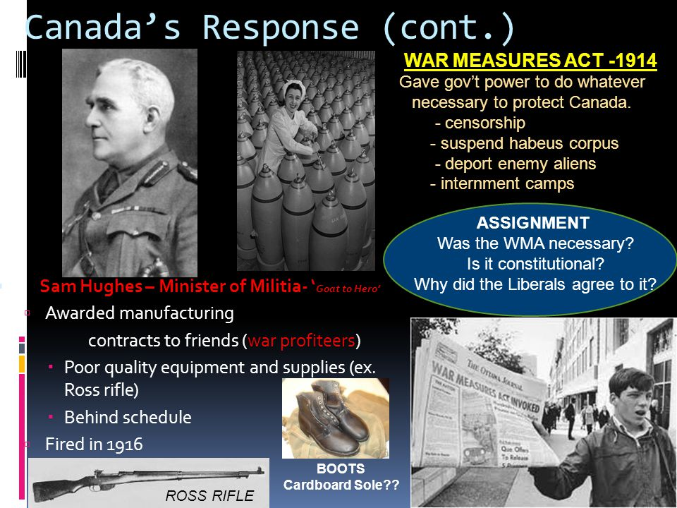 Canada's Response (cont.)