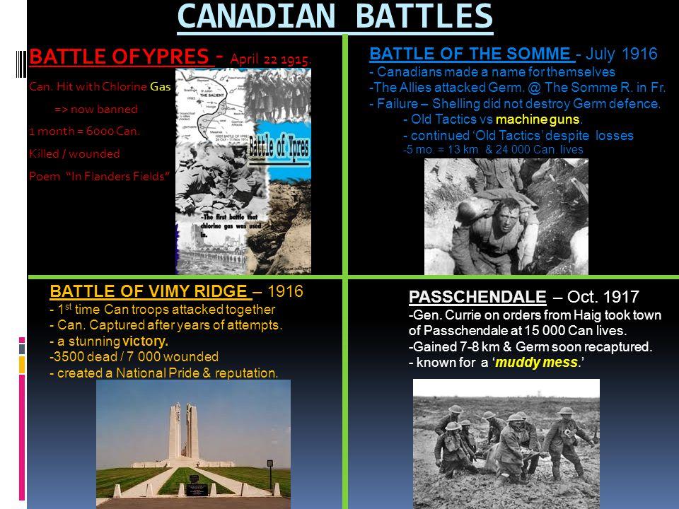CANADIAN BATTLES BATTLE OF YPRES - April 22 1915.