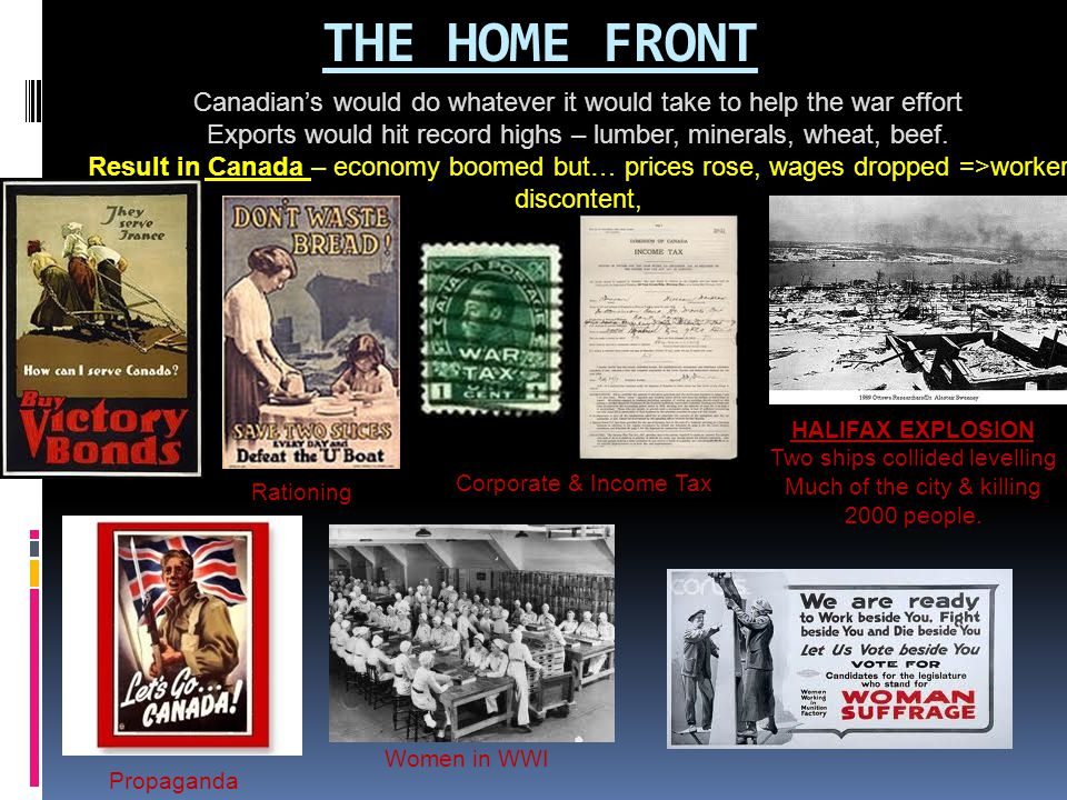 THE HOME FRONT Canadian's would do whatever it would take to help the war effort. Exports would hit record highs – lumber, minerals, wheat, beef.