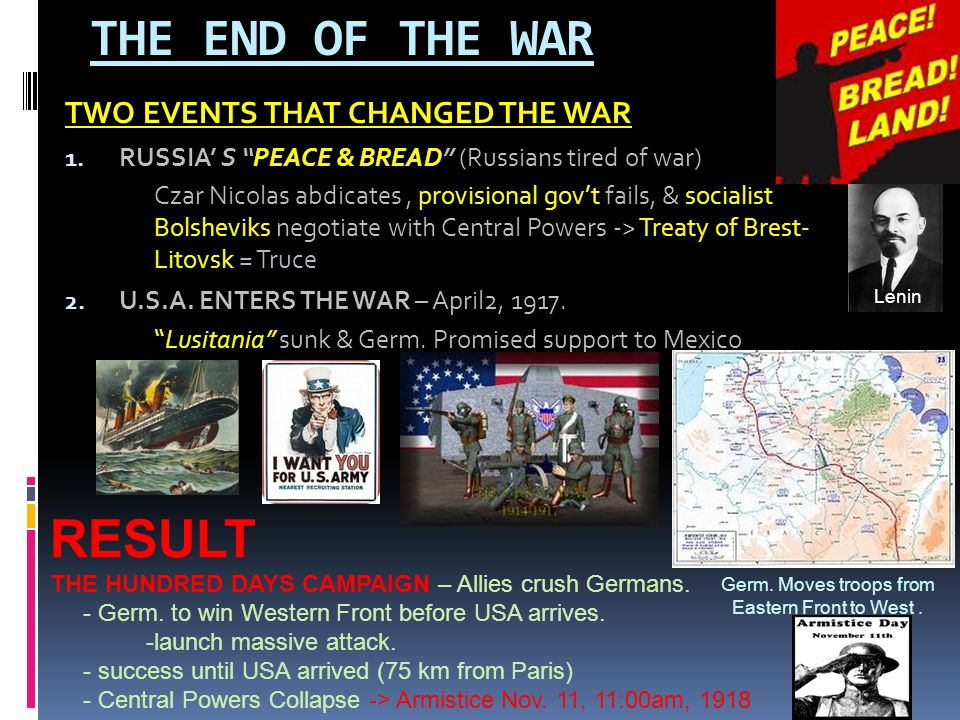 THE END OF THE WAR RESULT TWO EVENTS THAT CHANGED THE WAR