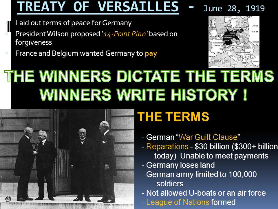 TREATY OF VERSAILLES - June 28, 1919