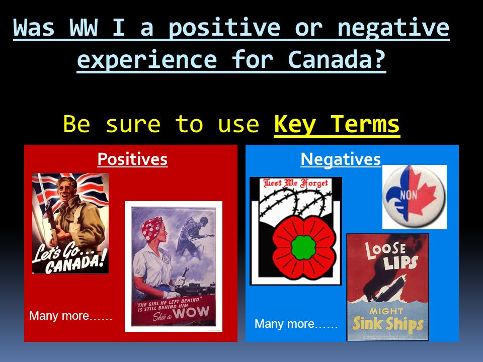Was WW I a positive or negative experience for Canada