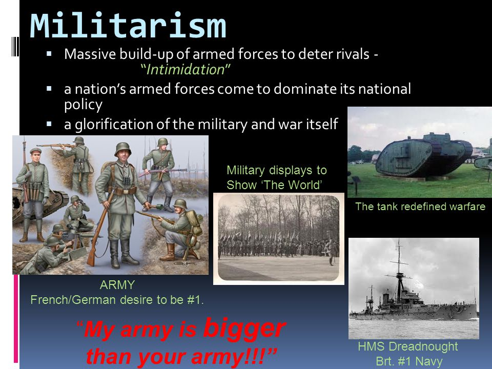 Militarism My army is bigger than your army!!!