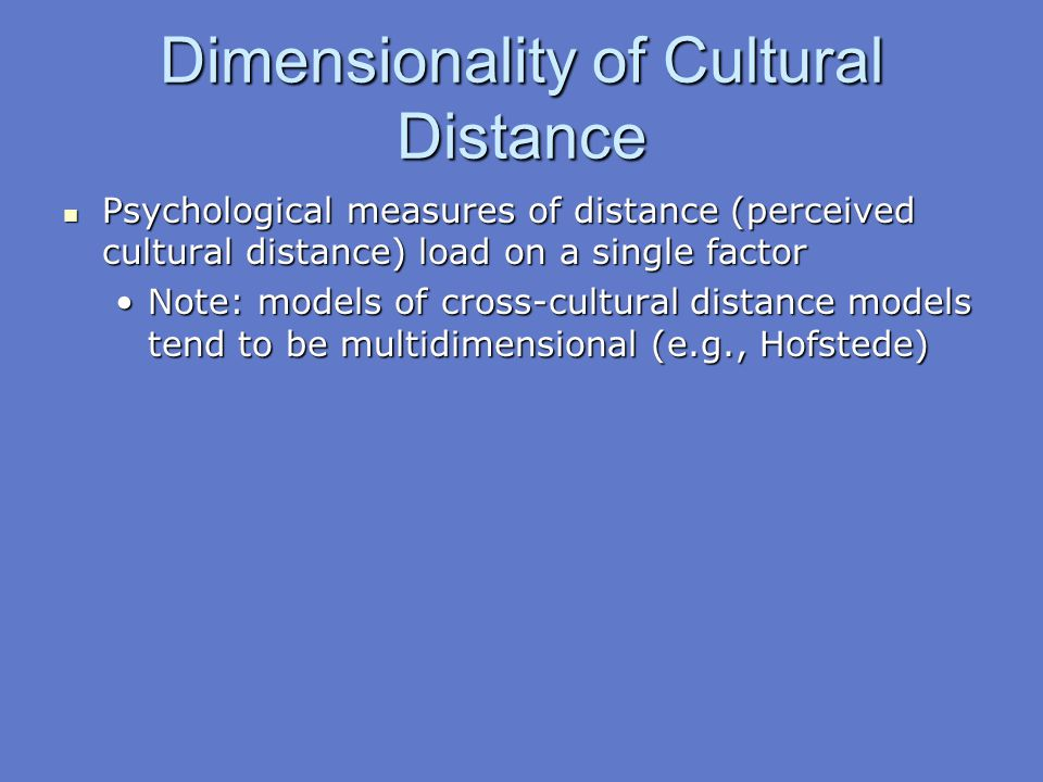 Dimensionality of Cultural Distance