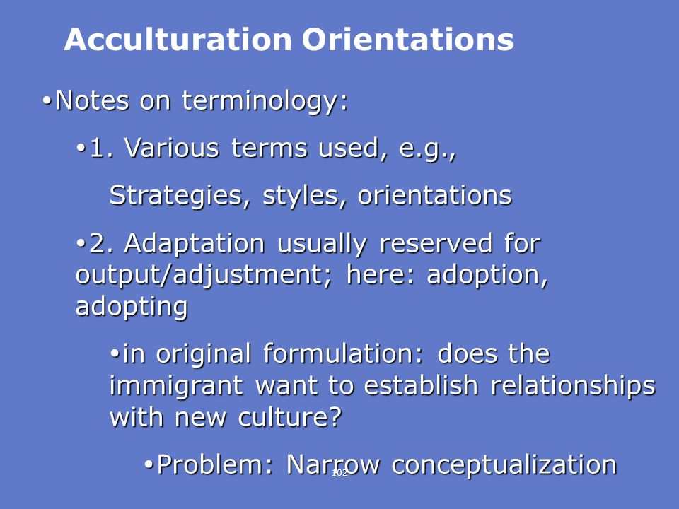 Acculturation Orientations