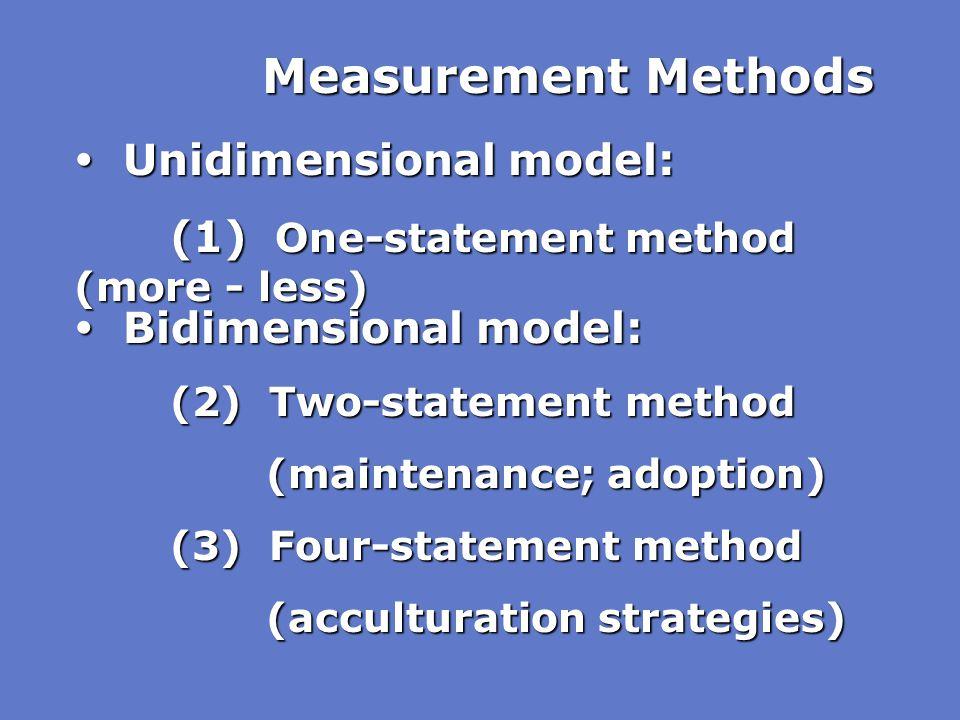 Measurement Methods  Unidimensional model: