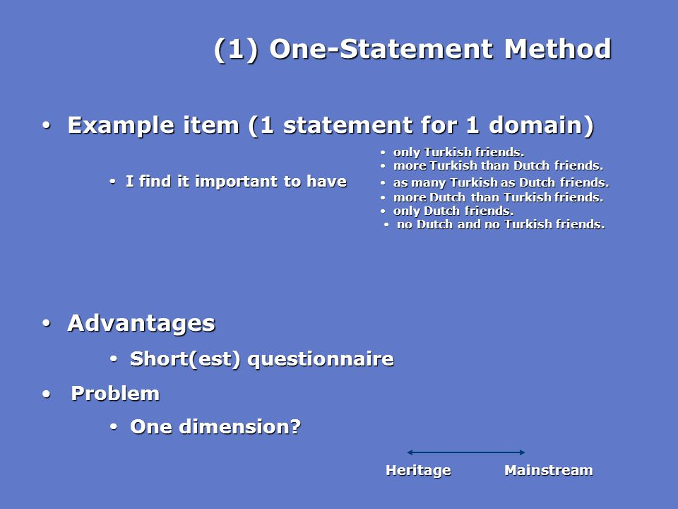 (1) One-Statement Method