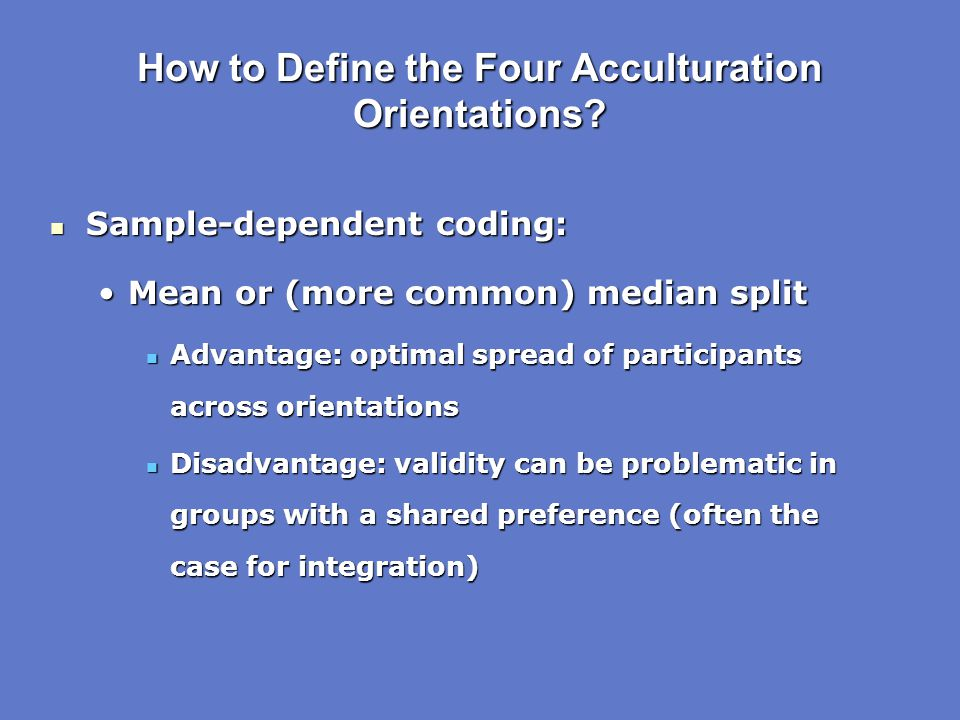How to Define the Four Acculturation Orientations