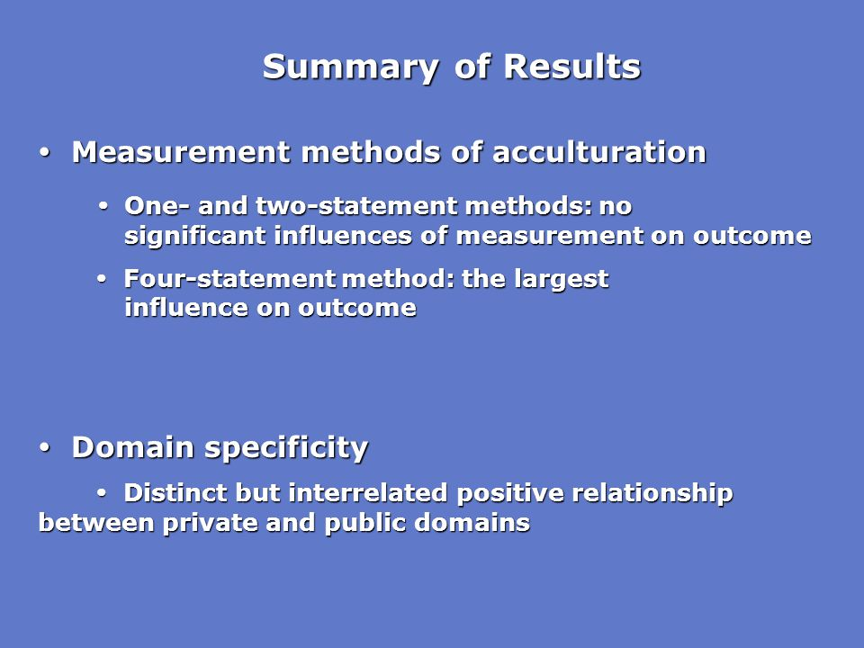 Summary of Results  Measurement methods of acculturation