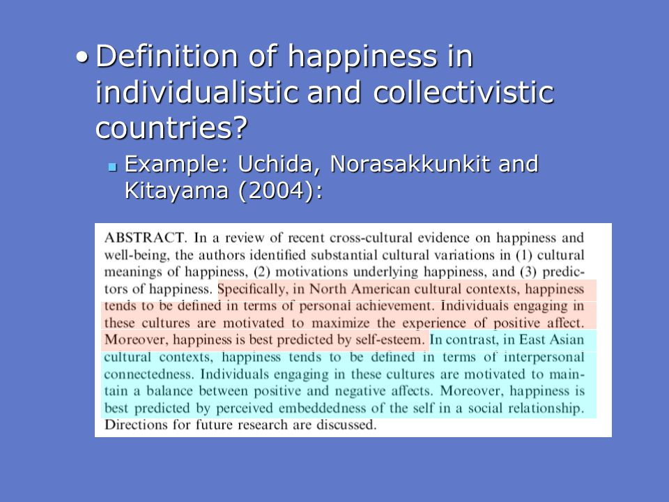 Definition of happiness in individualistic and collectivistic countries
