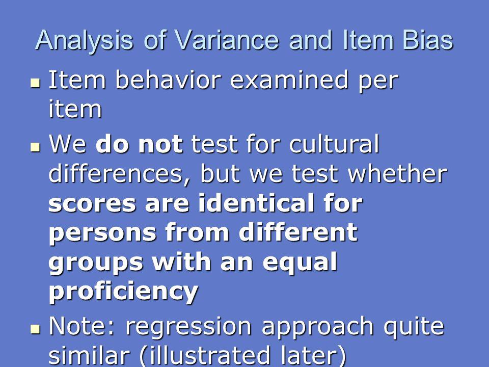 Analysis of Variance and Item Bias