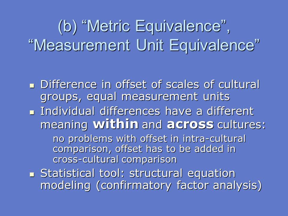 (b) Metric Equivalence , Measurement Unit Equivalence