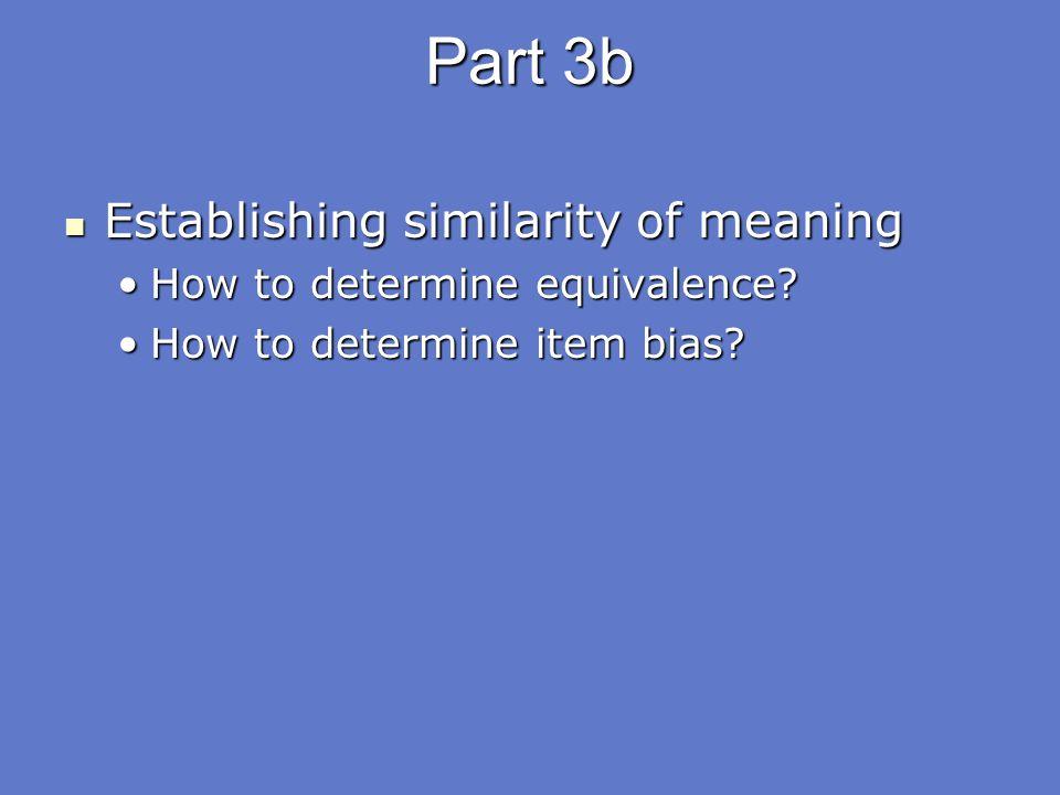 Part 3b Establishing similarity of meaning