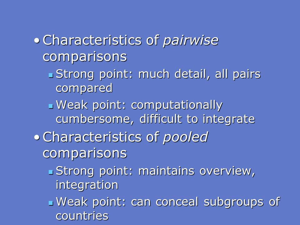 Characteristics of pairwise comparisons