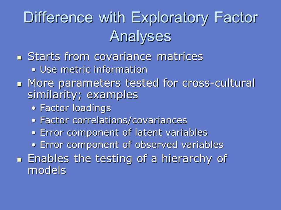 Difference with Exploratory Factor Analyses