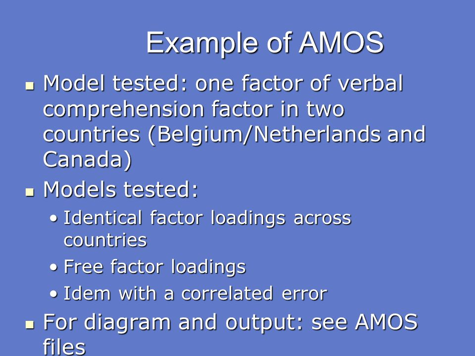 Example of AMOS Model tested: one factor of verbal comprehension factor in two countries (Belgium/Netherlands and Canada)