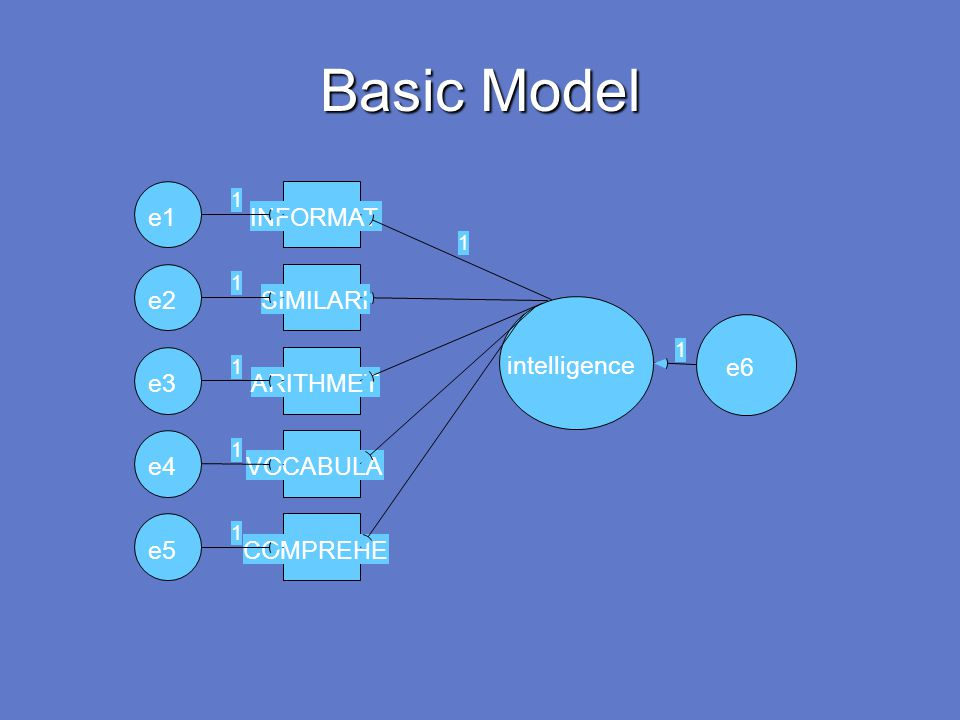 Basic Model e1 INFORMAT e2 SIMILARI intelligence e6 e3 ARITHMET e4