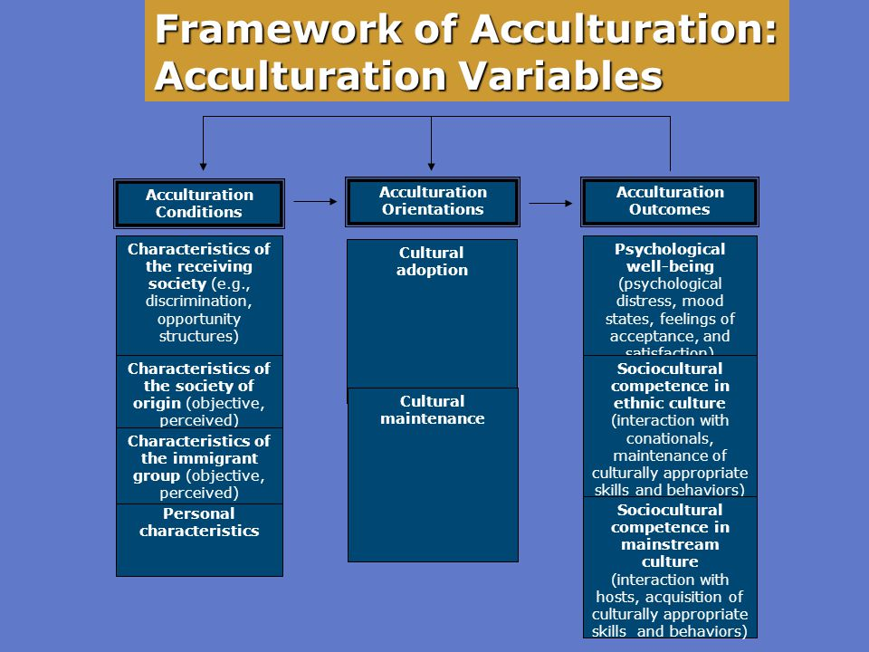 Framework of Acculturation: Acculturation Variables