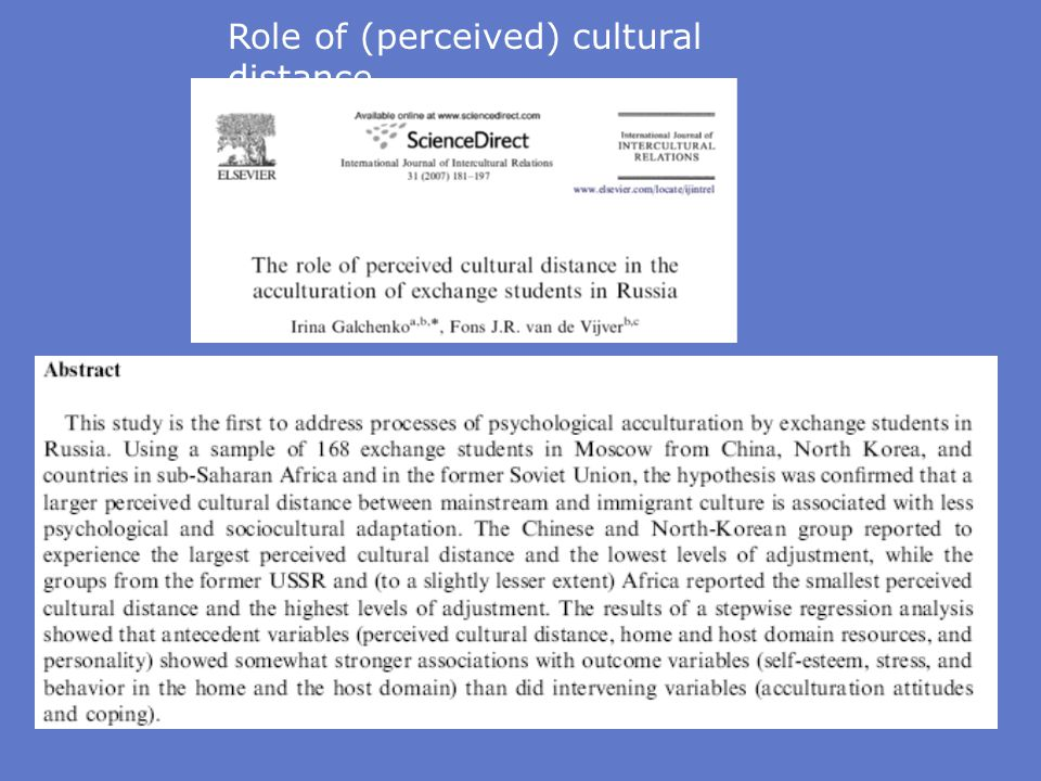 Role of (perceived) cultural distance